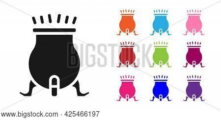 Black Witch Cauldron Icon Isolated On White Background. Happy Halloween Party. Set Icons Colorful. V