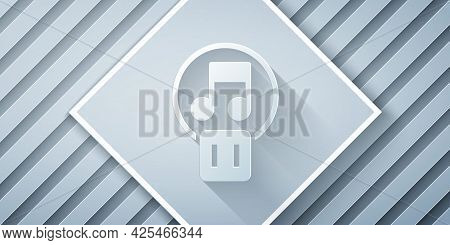 Paper Cut Pause Button Icon Isolated On Grey Background. Paper Art Style. Vector