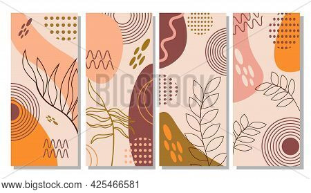 A Set Of Patterns With Abstract Spots Of Natural Shades And Leaves. Vector Illustration. For Use And