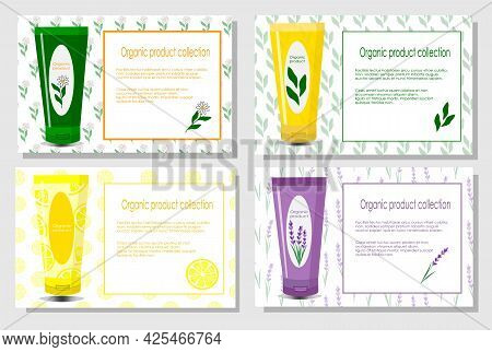 Set With Beauty Products Flyers With Place For Text. Organic Natural Cosmetics Illustration. Vector