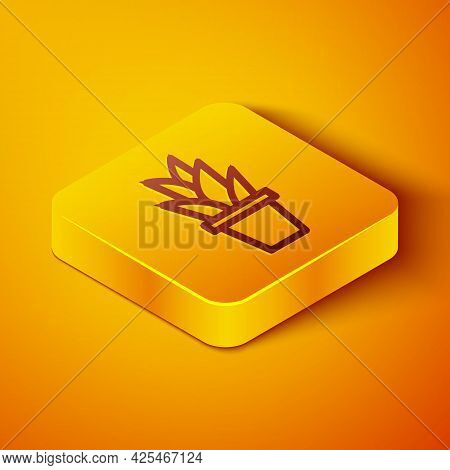 Isometric Line Plant In Pot Icon Isolated On Orange Background. Plant Growing In A Pot. Potted Plant