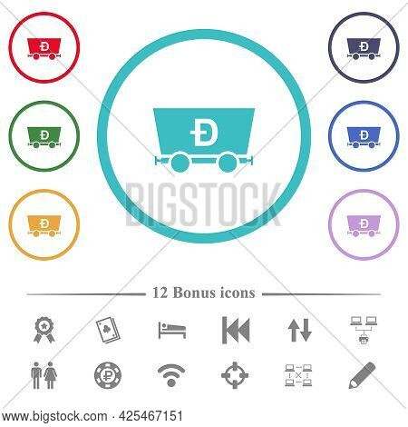 Dogecoin Criptocurrency Mining Flat Color Icons In Circle Shape Outlines. 12 Bonus Icons Included.