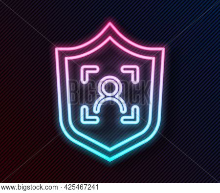 Glowing Neon Line Shield Face Recognition Icon Isolated On Black Background. Face Identification Sca