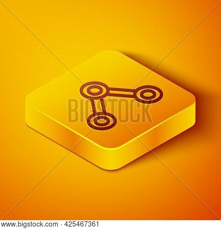 Isometric Line Molecule Icon Isolated On Orange Background. Structure Of Molecules In Chemistry, Sci