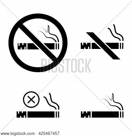 No Smoking. Stop Smoke, Sign. Set Of Information Icons. Prohibited Symbol. Hotel Service Symbol. Gly