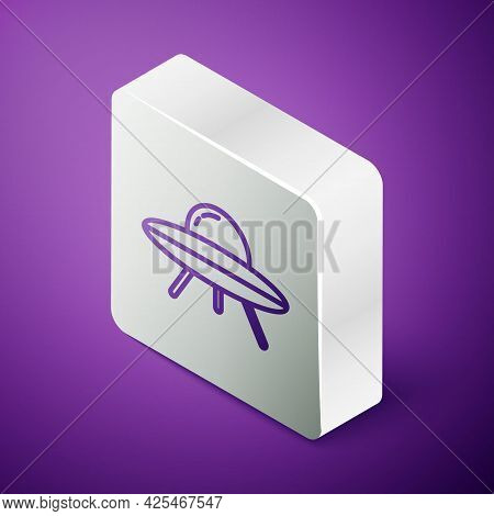 Isometric Line Ufo Flying Spaceship Icon Isolated On Purple Background. Flying Saucer. Alien Space S