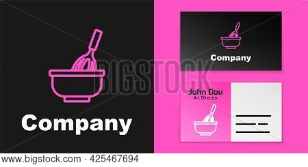 Pink Line Kitchen Whisk With Bowl Icon Isolated On Black Background. Cooking Utensil, Egg Beater. Cu