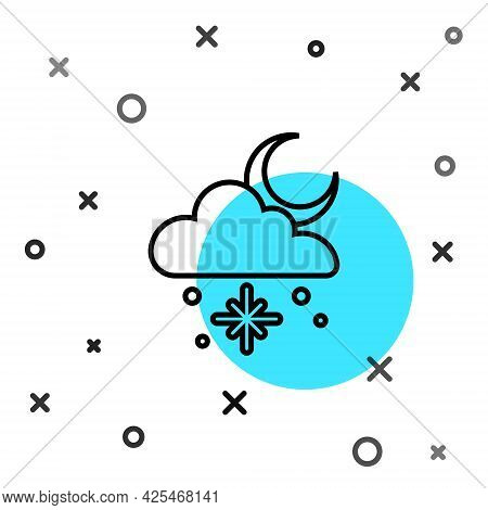 Black Line Cloud With Snow And Sun Icon Isolated On White Background. Cloud With Snowflakes. Single