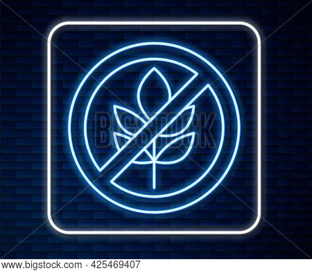 Glowing Neon Line Gluten Free Grain Icon Isolated Glowing Neon Line Background. No Wheat Sign. Food