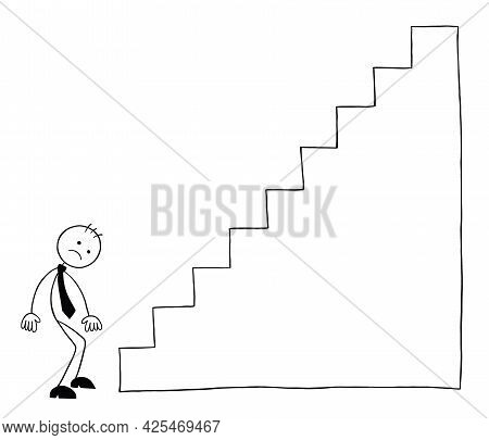Stickman Businessman Character Next To The Stairs And Hopeless, Vector Cartoon Illustration. Black O
