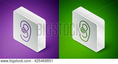 Isometric Line Hearing Aid Icon Isolated On Purple And Green Background. Hearing And Ear. Silver Squ