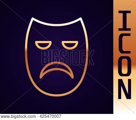 Gold Line Drama Theatrical Mask Icon Isolated On Black Background. Vector