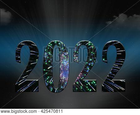 New Year 2022 Fireworks 3d Illustration Text With Light Rays And Clouds In Blue Night Sky