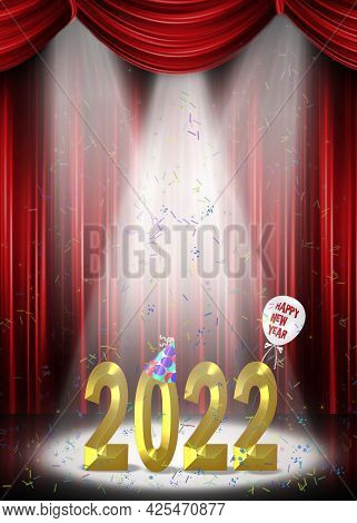 New Year 2022 3d Illustration Gold Text In Stage Spotlight With Confetti And Red Curtain Backdrop