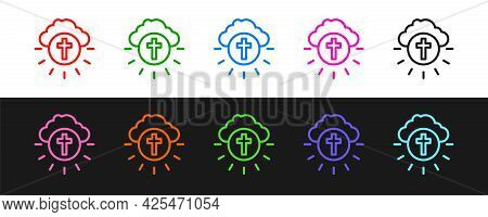 Set Line Religious Cross In The Circle Icon Isolated On Black And White Background. Love Of God, Cat
