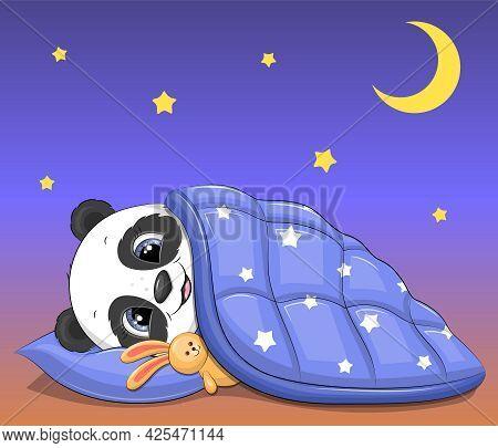 Cute Cartoon Panda With Bunny Toy Sleeping Under A Blue Blanket. Night Vector Illustration On Blue B