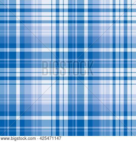 Seamless Pattern In Creative Blue Colors For Plaid, Fabric, Textile, Clothes, Tablecloth And Other T