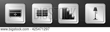 Set Chest Of Drawers, Chest Of Drawers, Staircase And Floor Lamp Icon. Silver Square Button. Vector
