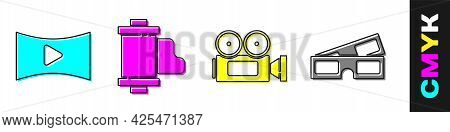 Set Online Play Video, Camera Vintage Film Roll Cartridge, Cinema Camera And 3d Cinema Glasses Icon.