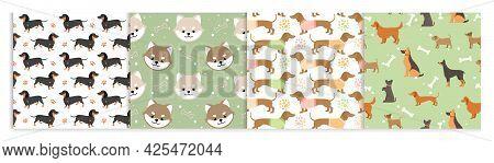 Dog Pets Seamless Pattern Vector Illustrations. Cartoon Cute Flat Animal Background Set With Black B
