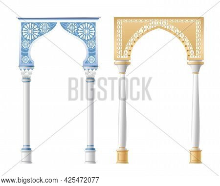 Vector Illustration Of Architectural Columns, Pillars And Arches Isolated On White Background.
