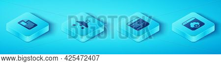 Set Isometric File Document, Filter Setting, Failed Access Cloud Storage And Software Icon. Vector