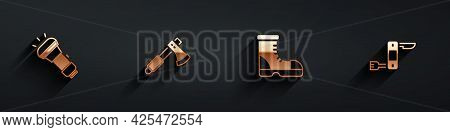 Set Flashlight, Wooden Axe, Hunter Boots And Swiss Army Knife Icon With Long Shadow. Vector