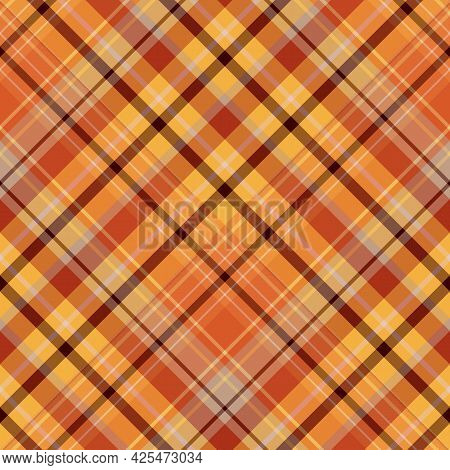 Seamless Pattern In Orange, Brown, Grey And Yellow Colors For Plaid, Fabric, Textile, Clothes, Table