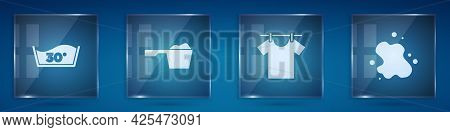Set Temperature Wash, Washing Powder, Drying Clothes And Water Spill. Square Glass Panels. Vector