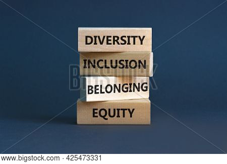 Equity, Diversity, Inclusion And Belonging Symbol. Wooden Blocks With Words 'equity, Diversity, Incl