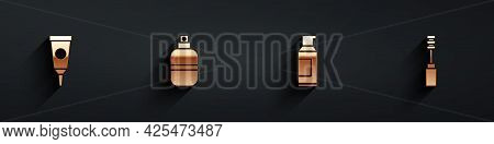 Set Cream Or Lotion Cosmetic Tube, Perfume, Spray Can For Hairspray And Mascara Brush Icon With Long