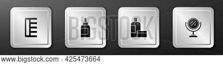 Set Hairbrush, Cream Or Lotion Cosmetic Tube, And Round Makeup Mirror Icon. Silver Square Button. Ve