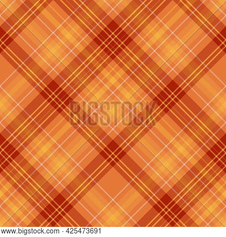Seamless Pattern In Festive Orange And Yellow Colors For Plaid, Fabric, Textile, Clothes, Tablecloth