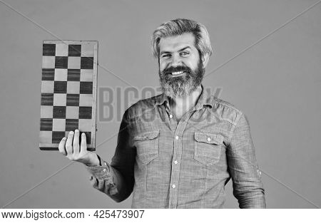 Man Play Chess Game. Concept Of Business Strategy And Tactic. Strategy With Chess Figures. Chess Bat