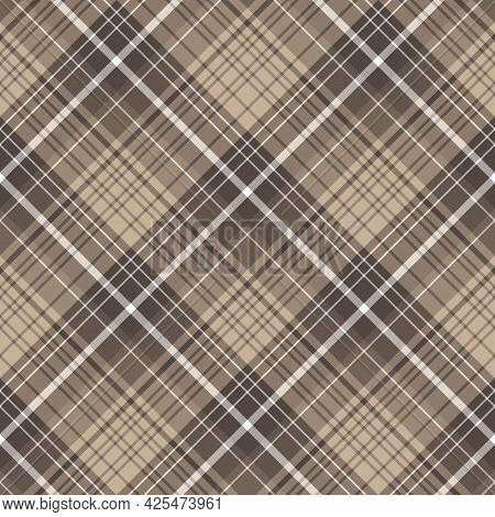 Seamless Pattern In Dark Beige And White Colors For Plaid, Fabric, Textile, Clothes, Tablecloth And