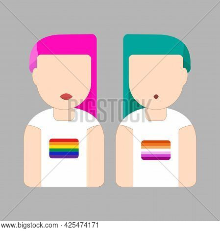 Couple Portrait Cartoon Wearing T-shirt With Lesbian And Gay Pride Flag Flag Icon. Pride Lgbtq Fashi