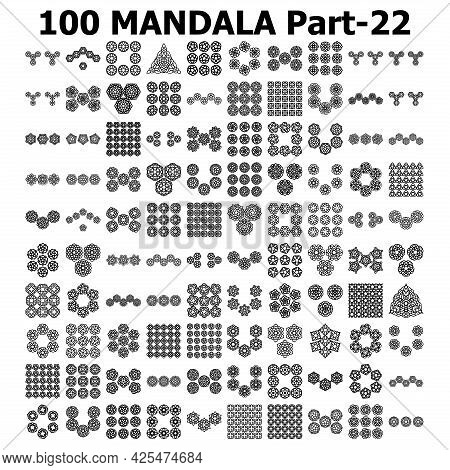 Various Pattern Collections 100 Mandala Pattern Set Doodles Freehand