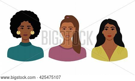 Set Of Female Faces With Dark Skin And Different Hairstyles. Collection Of Portraits Of Women For Av