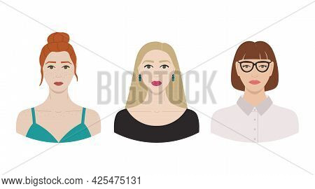 Set Of Female Faces With White Skin And Different Hairstyles. Collection Of Portraits Of Women For A