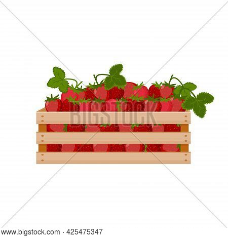 A Bright Summer Illustration Depicting A Wooden Box With Red Ripe Strawberries And Green Leaves. The