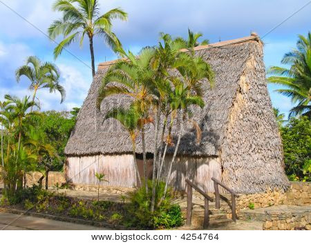 Traditional South Pacific island hut indigenous to the Marquesas poster