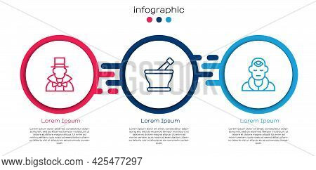 Set Line Magician, Mortar And Pestle And Wizard Warlock. Business Infographic Template. Vector