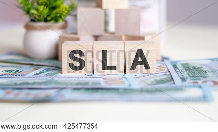 Sla Concept With Wooden Blocks, Light Wooden Cubes Signs, Symbols Signs, Business Office