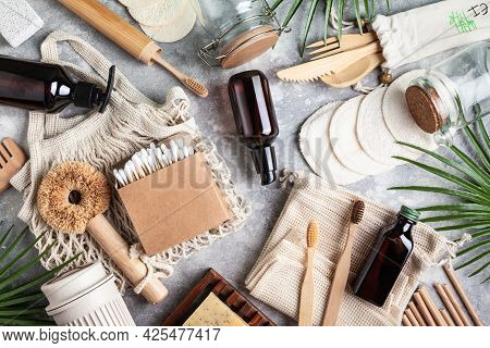 Zero Waste. Set Of Natural Skin Care Products, Eco Friendly Bathroom And Kitchen Accessories On A Gr