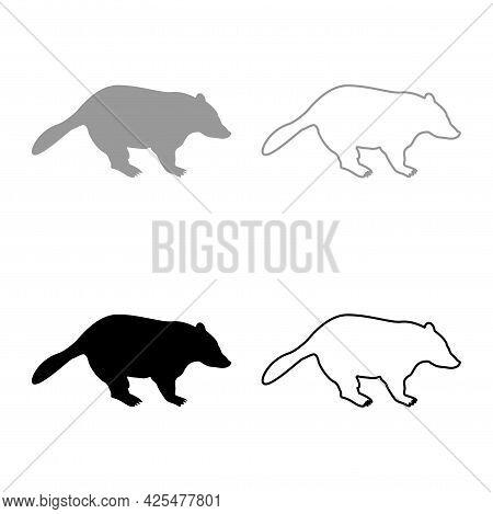 Badger Animal Wild Meles Taxus Predatory Mammal Family Kunihih Carnivore Silhouette Grey Black Color