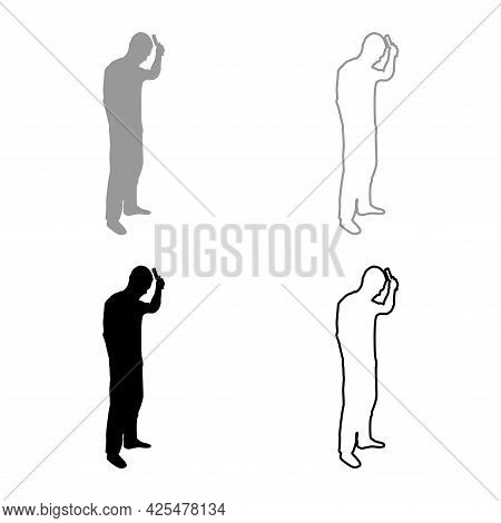 Man Is Combing Hair Use Hairbrush Side View Silhouette Grey Black Color Vector Illustration Solid Ou