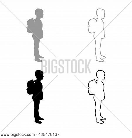 Schoolboy With Backpack Pupil Stand Carrying On Back Going To School Concept Come Back To School Ide