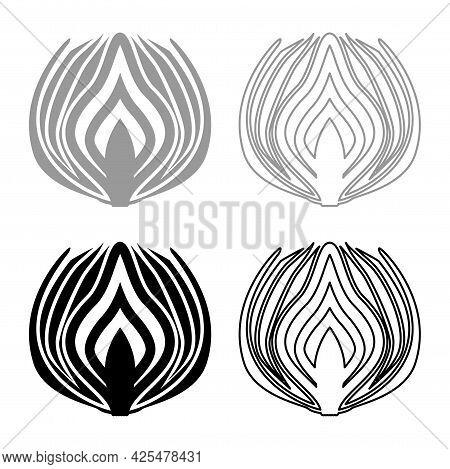 Onion Cut In Half Part Bulbs Chopped Sliced Vegetable Silhouette Grey Black Color Vector Illustratio