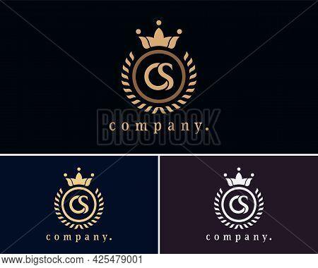 Letter Cs, Sc Laurel Wreath Monogram Template. Beautiful Crown Logo For Royalty, Business Card, Bout