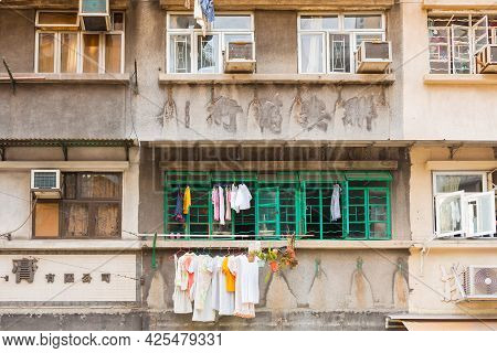 Sheung Wan, Hong Kong Island, Hong Kong, China, Asia - June 29, 2021: Detail Of Housing Project Apar